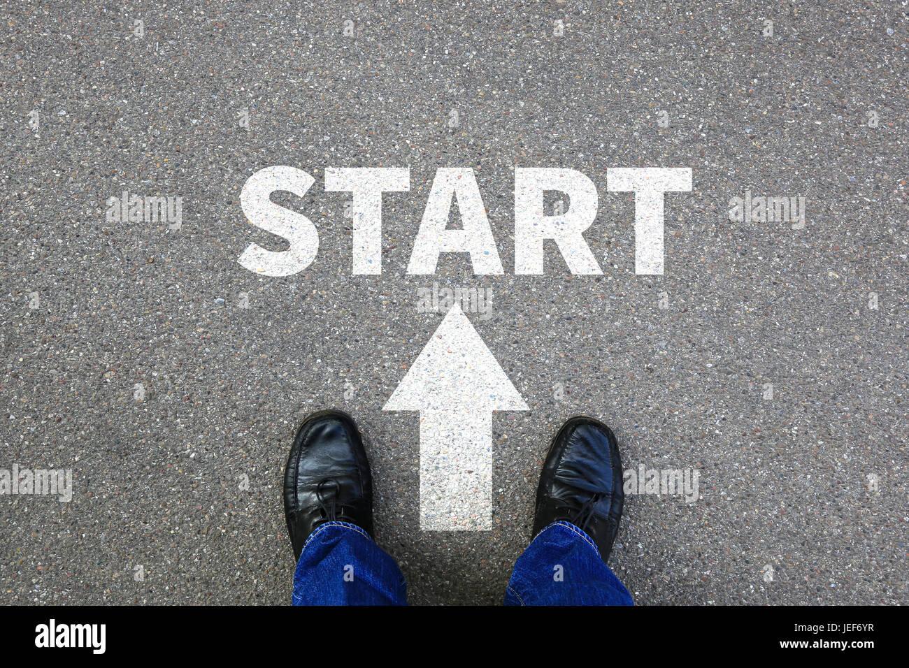 Start starting begin beginning businessman business concept job career goals motivation vision - Stock Image