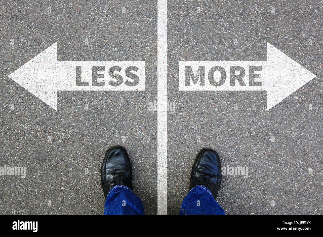 Less is more business concept decision surrender better life success - Stock Image