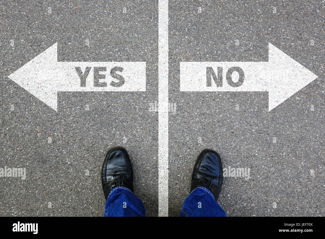 Yes no right wrong answer business concept solution decision decide choice - Stock Image