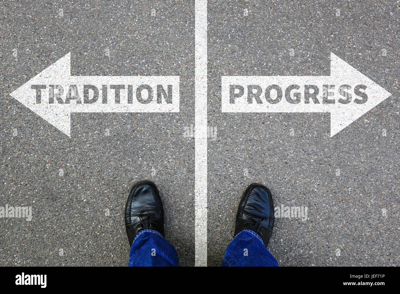 Tradition progress future management assessment analysis company business concept businessman reward - Stock Image