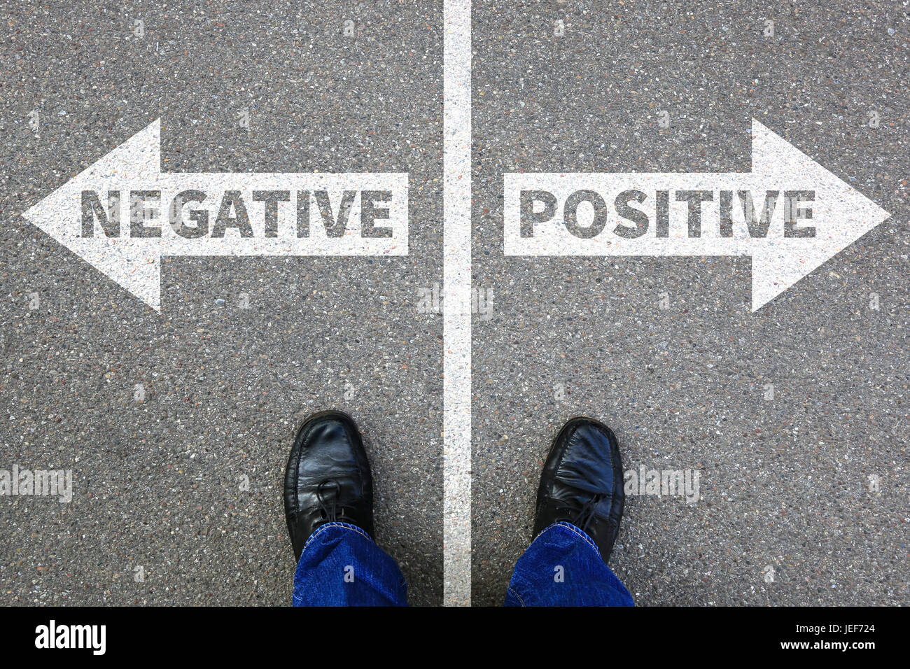 Negative positive thinking good bad thoughts attitude business concept solution decision decide choice - Stock Image
