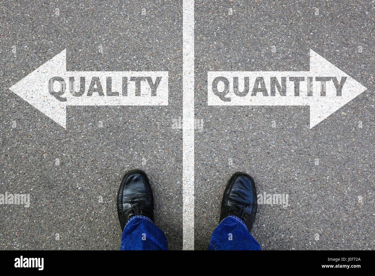 Quality quantity success choice choose business concept businessman decision choosing - Stock Image