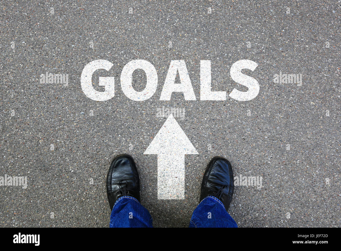 Goal goals setting success new aspirations strategy future businessman business concept - Stock Image