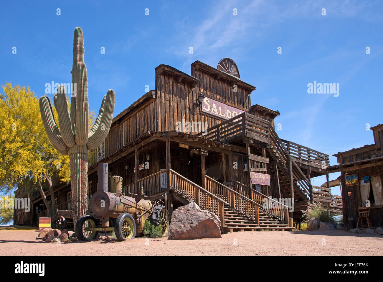 Ghosttown in Arizona, the USA, which is a completely abandoned or semi-abandoned town or city., USA - Stock Image