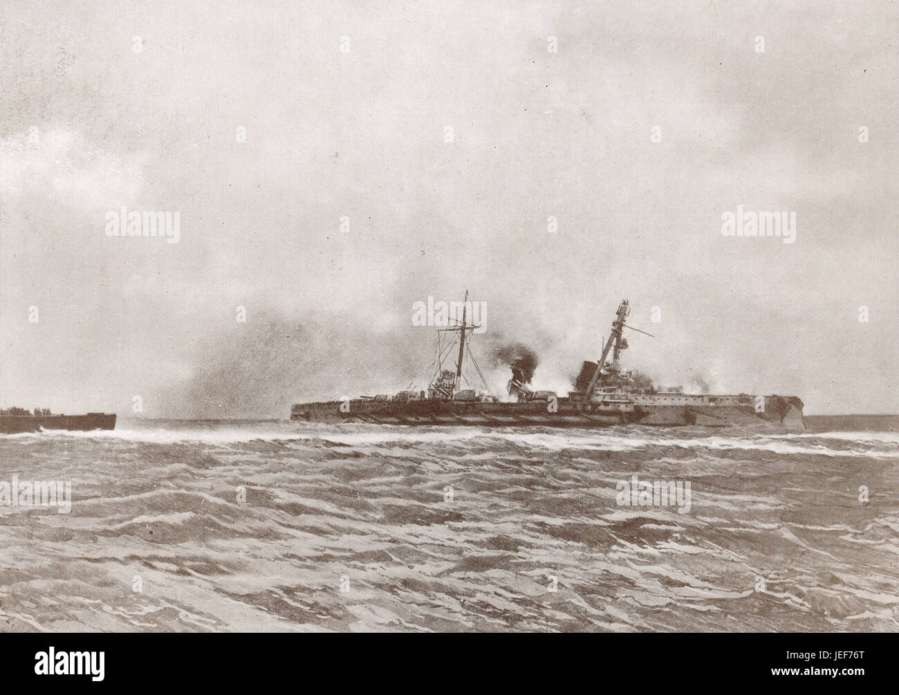 SMS Blucher sunk, Battle of Dogger Bank, 1915 - Stock Image