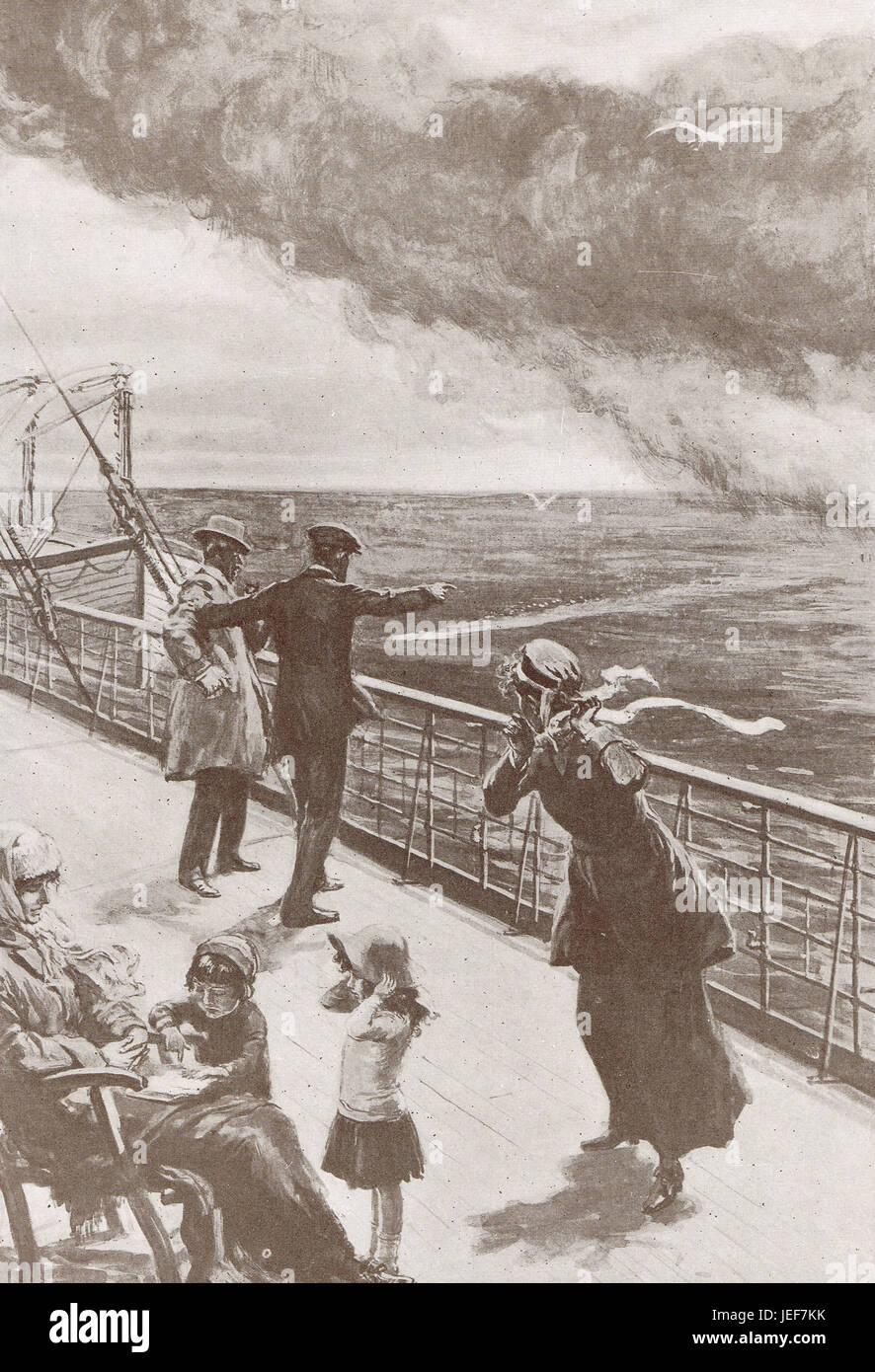German U Boat Torpedo approaching Cunard Liner RMS Lusitania, 7 May 1915 - Stock Image