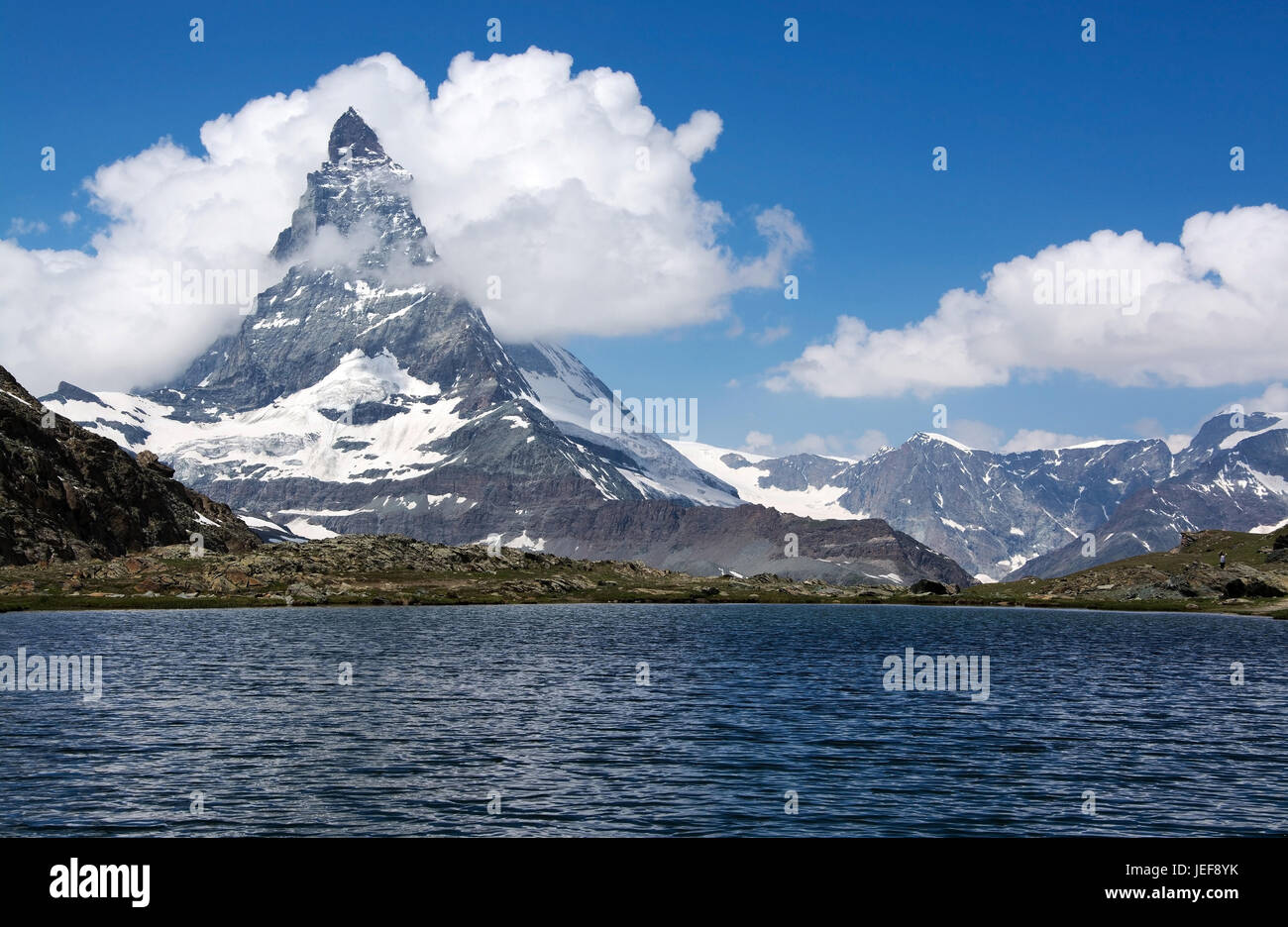 The Matterhorn in Switzerland is one of the highest mountains of the Alps with 4478-metre height., Das Matterhorn - Stock Image
