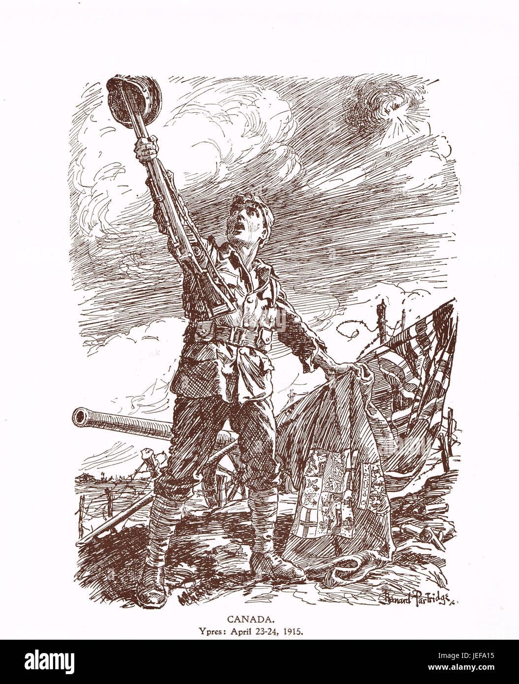 Punch Cartoon Canada at Ypres April 23-24 1915 - Stock Image