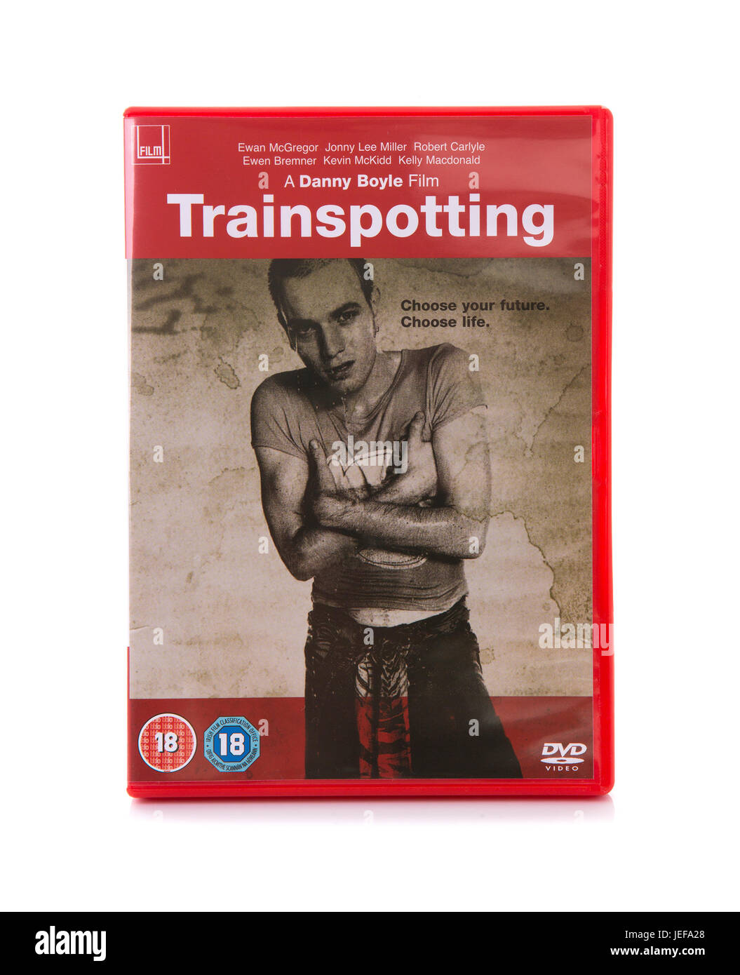 SWINDON, UK - JUNE 24, 2017: Trainspotting DVD by Danny Boyle, cult film from 1996 - Stock Image
