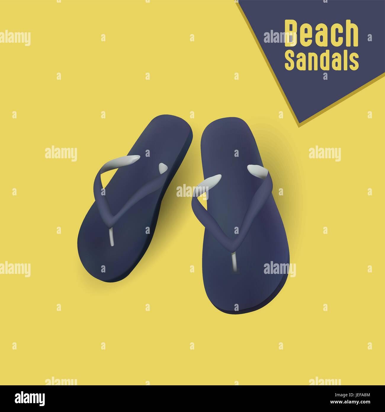 Vector illustration of beach sandals, Eps File - Stock Vector