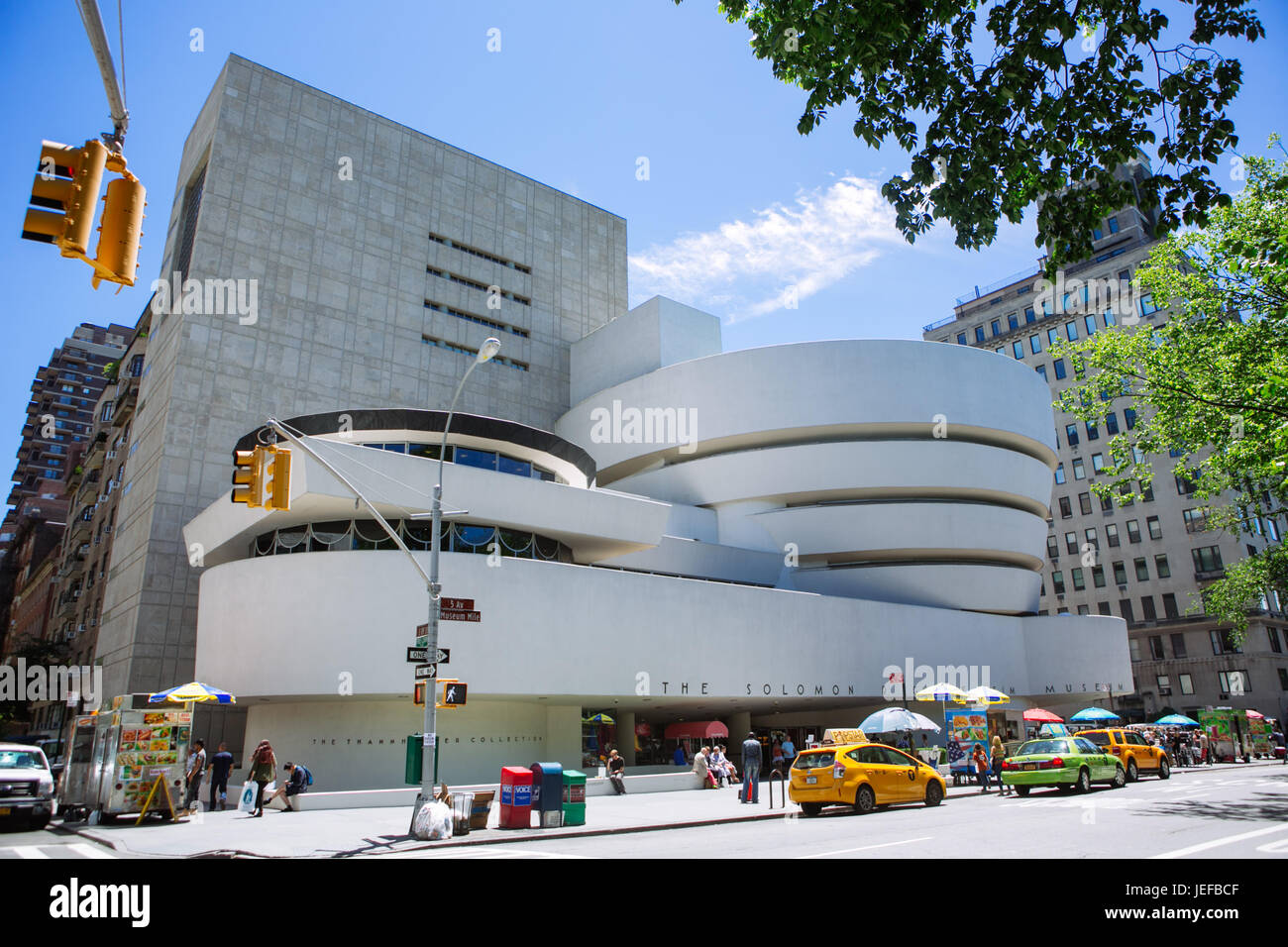 Facade of the Guggenheim Museum, New York City, USA - Stock Image