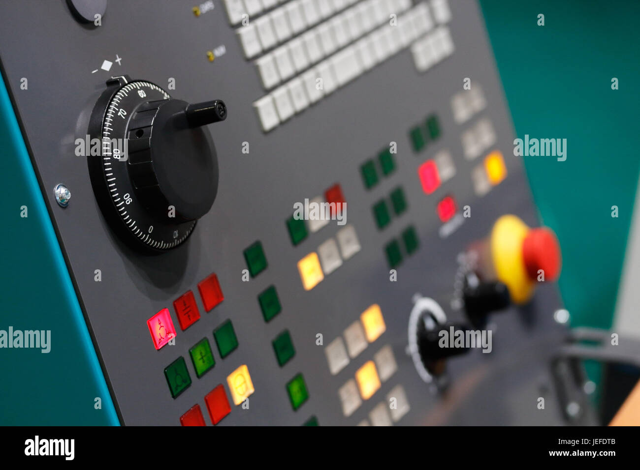 Control panel of cnc lathe machine. Selective focus. - Stock Image