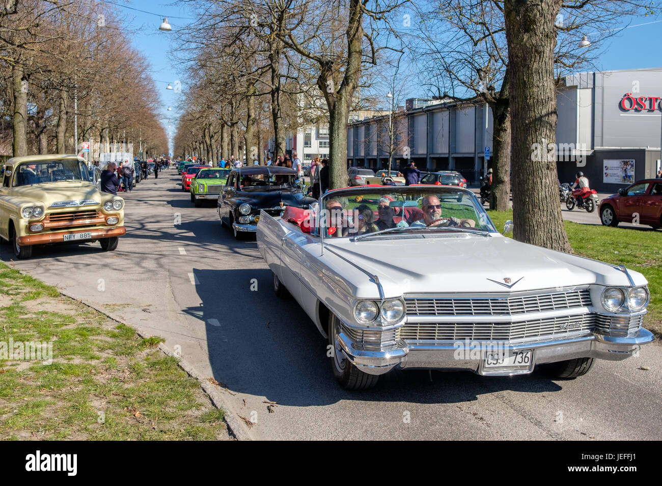 Cadillac De Ville, 1964, cabriolet at the traditional vintage car parade celebrating spring on May Day in Norrkoping, - Stock Image