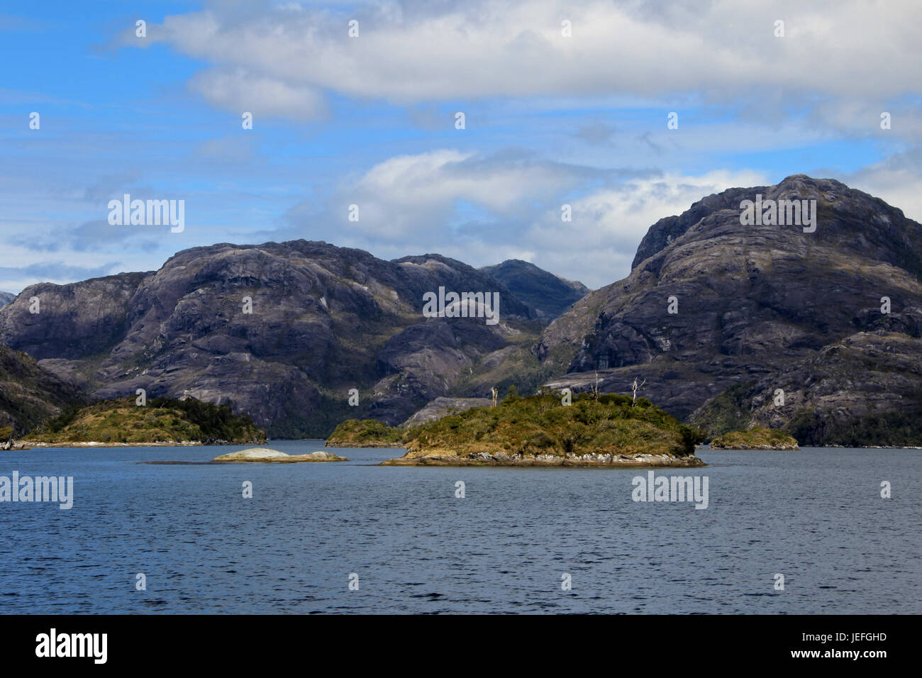 Beautiful fiord with mountains in the Bernardo O'Higgins National Park, Chile, South America - Stock Image