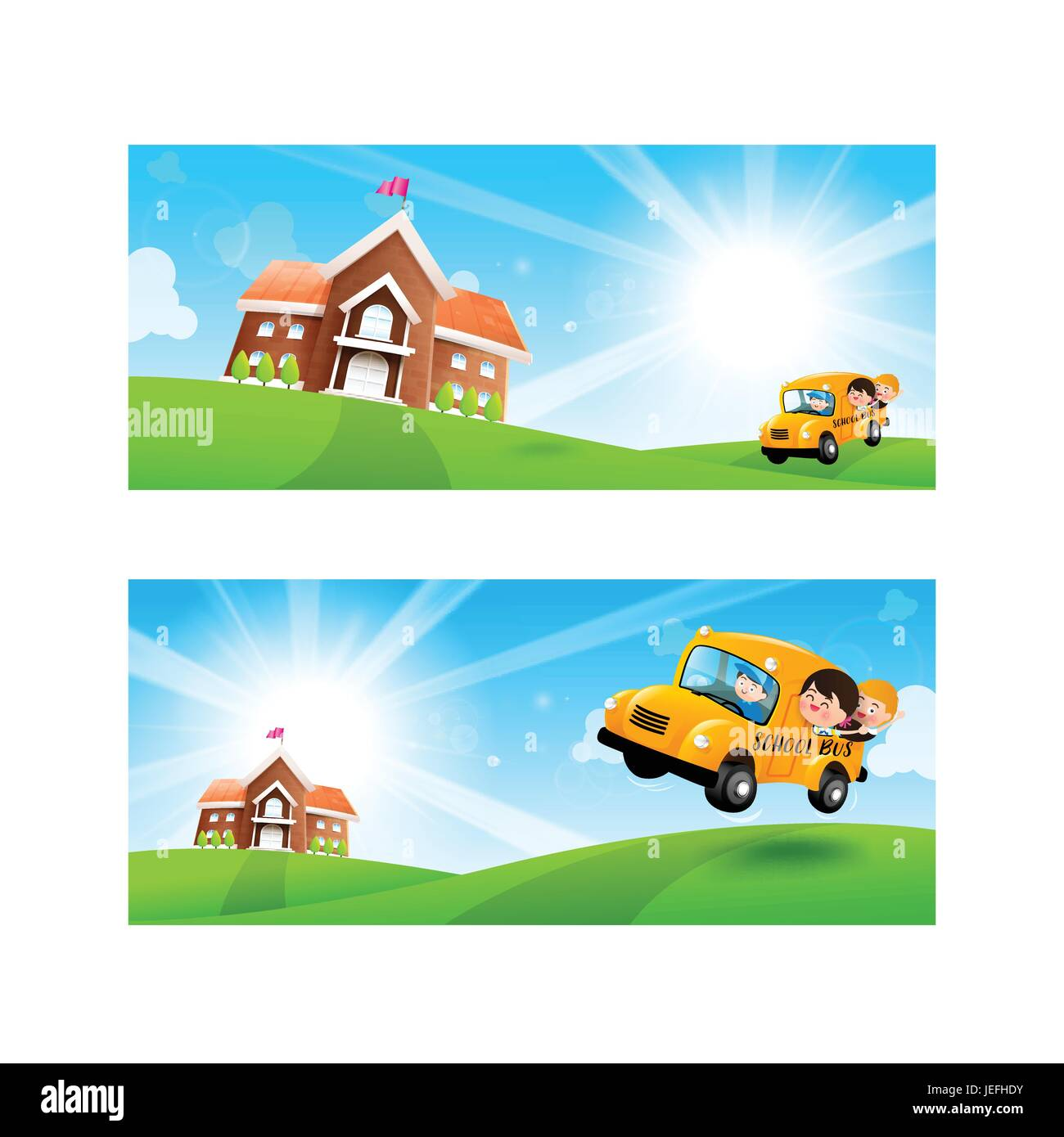 Back to School concept Blank banner template Student kids on