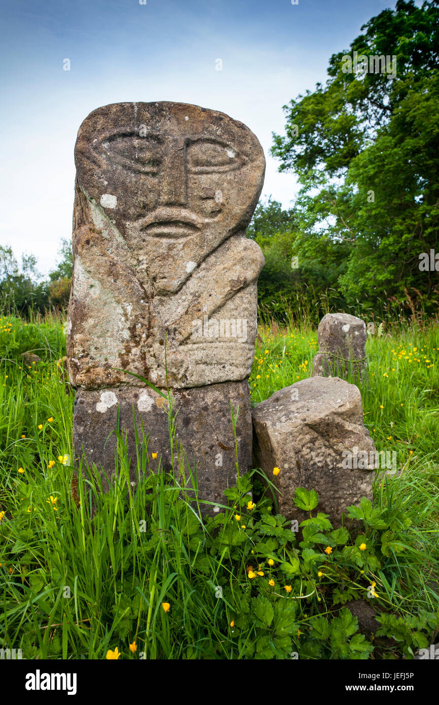 The front of the Boa Island bilateral figure, regarded as one of the most enigmatic and remarkable stone figures - Stock Image