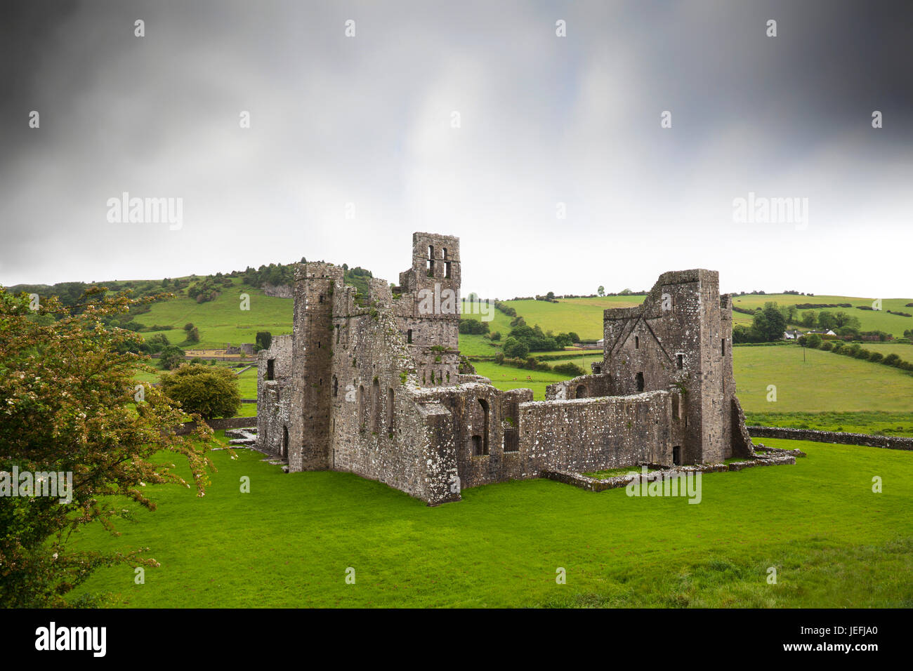 Fore Abbey is the old 15th century Benedictine Abbey ruin situated to the north of Lough Lene in County Westmeath, - Stock Image