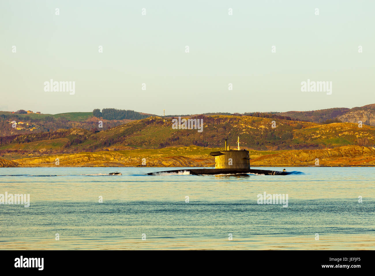 Submarine arriving at port in Norway. - Stock Image