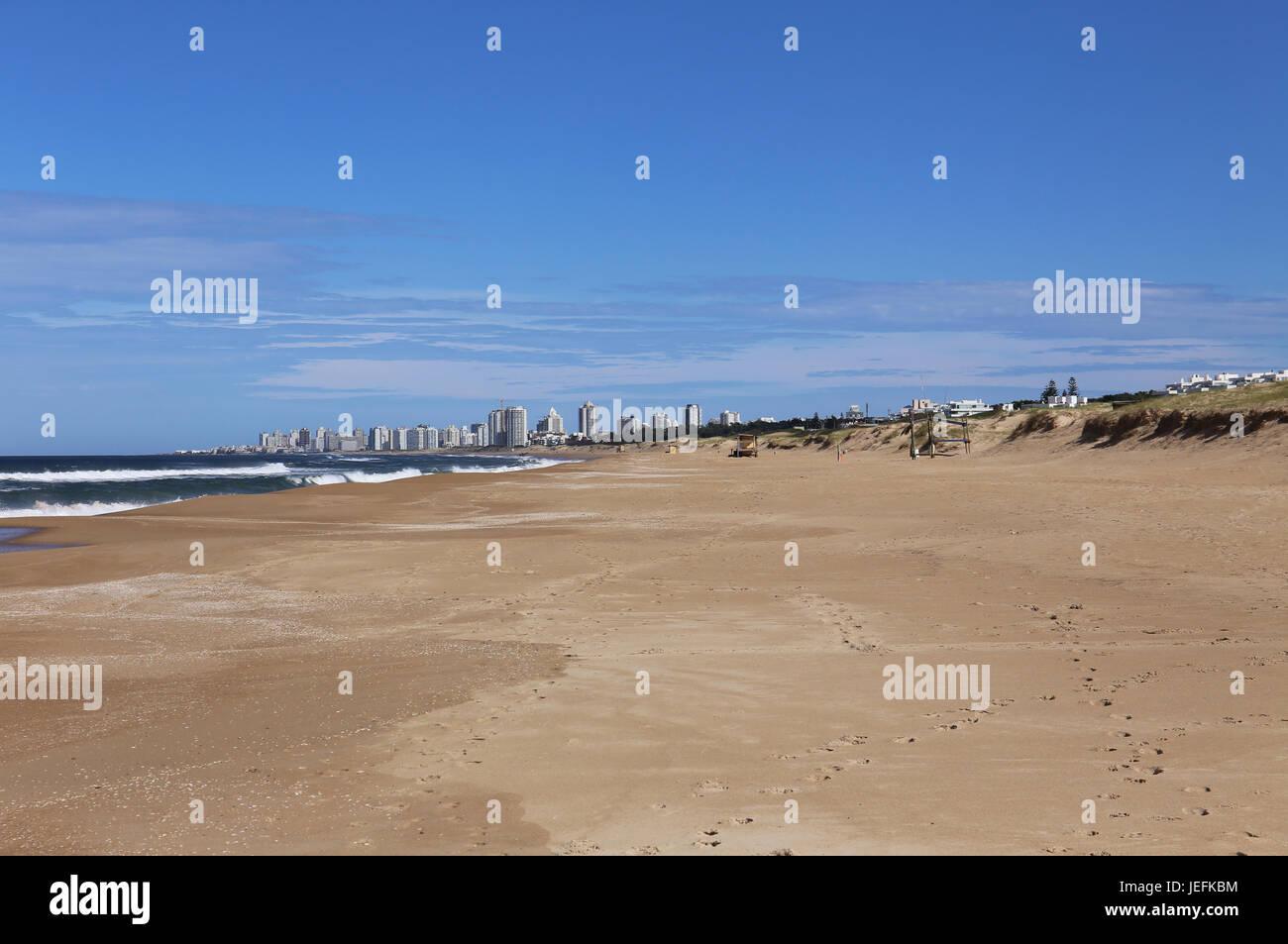 Beach in Front of Punta del Este, Uruguay April 2017 - Stock Image