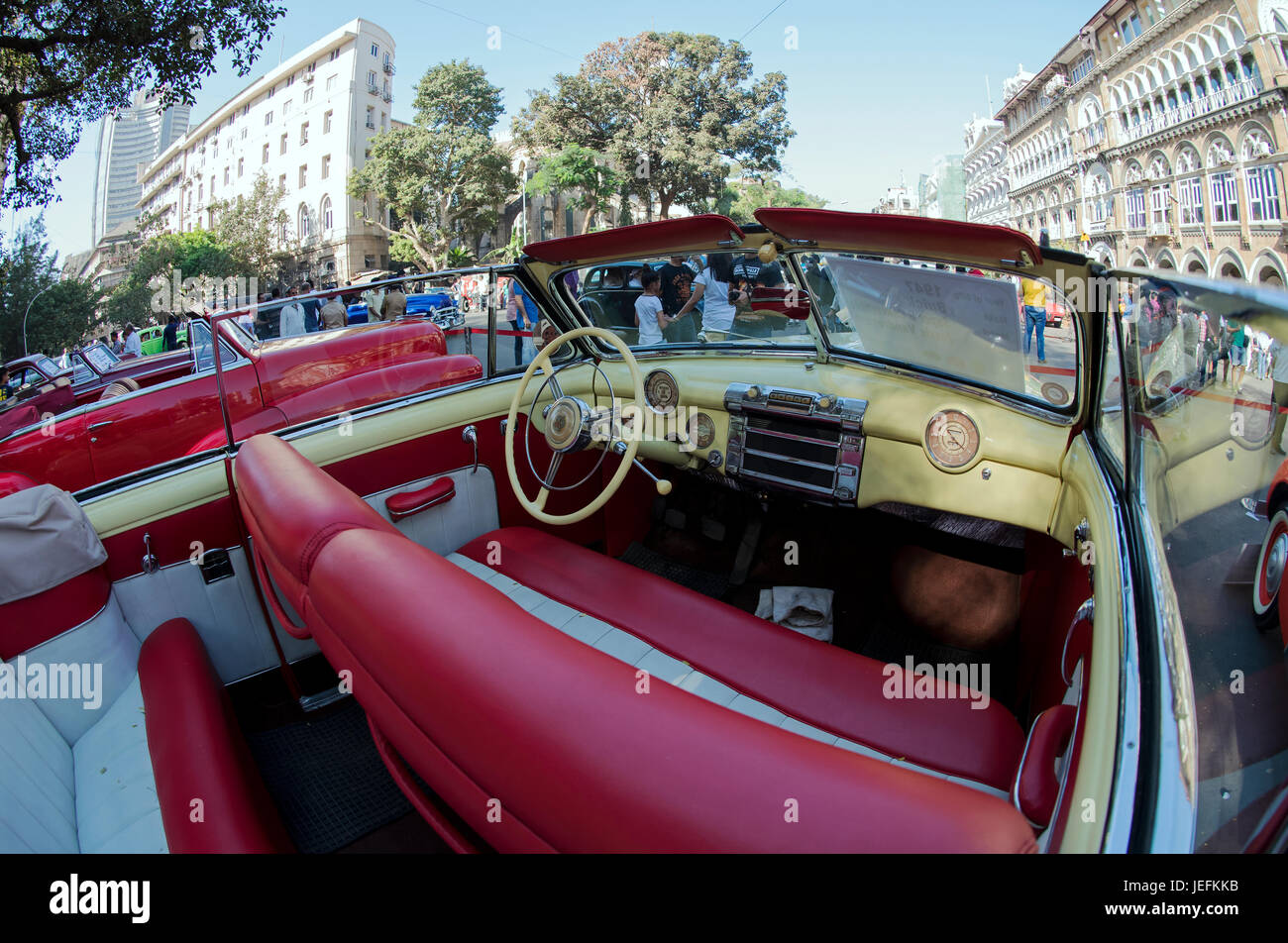 Vintage Car Interior In Car Rally Mumbai Stock Photos Vintage Car