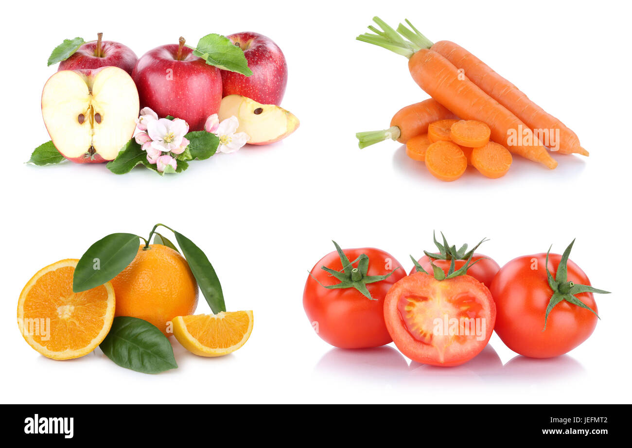 Fruits and vegetables collection apples oranges carrots tomatoes vegetable food isolated on a white background - Stock Image