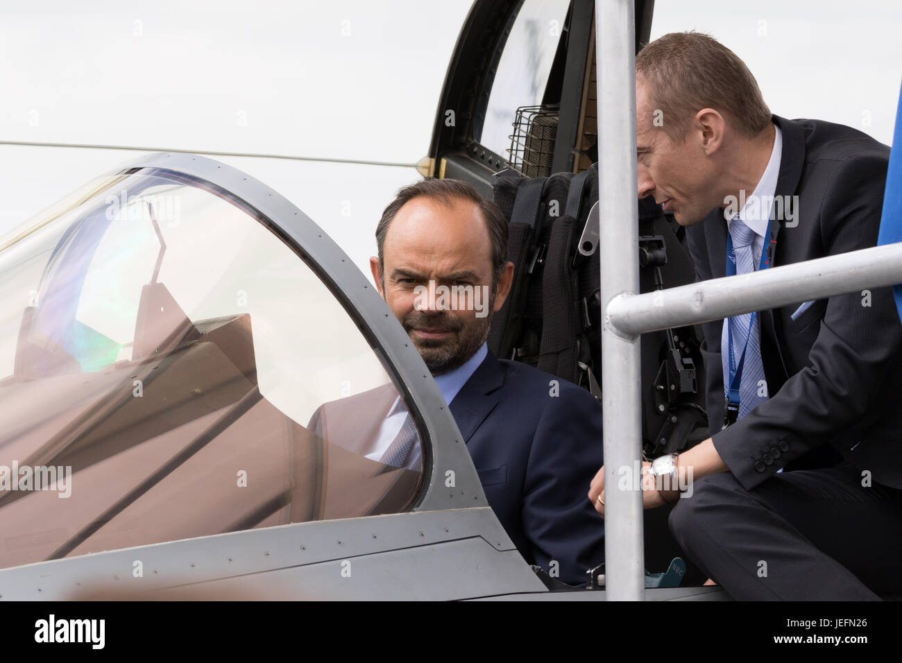 PARIS, FRANCE - JUN 23, 2017: French Prime Minister Edouard Philippe in the cockpit of a Rafale fighter jet during - Stock Image