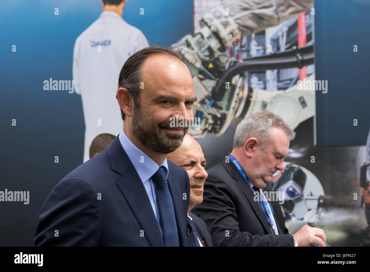 PARIS, FRANCE - JUN 23, 2017: French Prime Minister Edouard Philippe visiting various aerospace companies at the - Stock Image