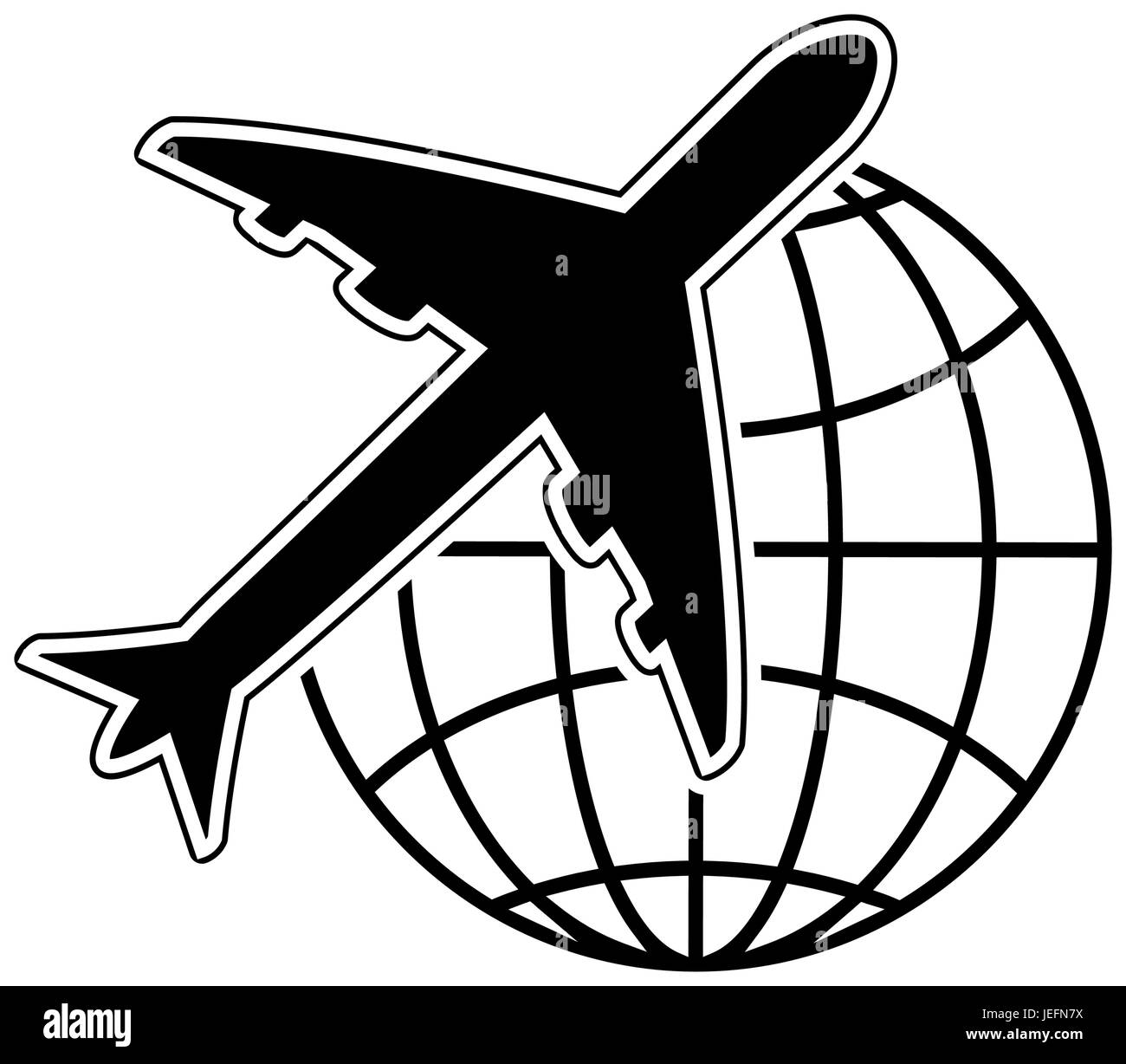 airplane and global sphere icon - Stock Image