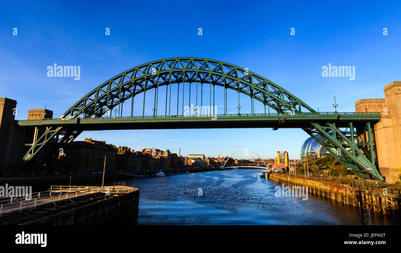 Tyne Bridge.  The Tyne Bridge connects Newcastle and Gateshead in North East England.  In the background are the Stock Photo
