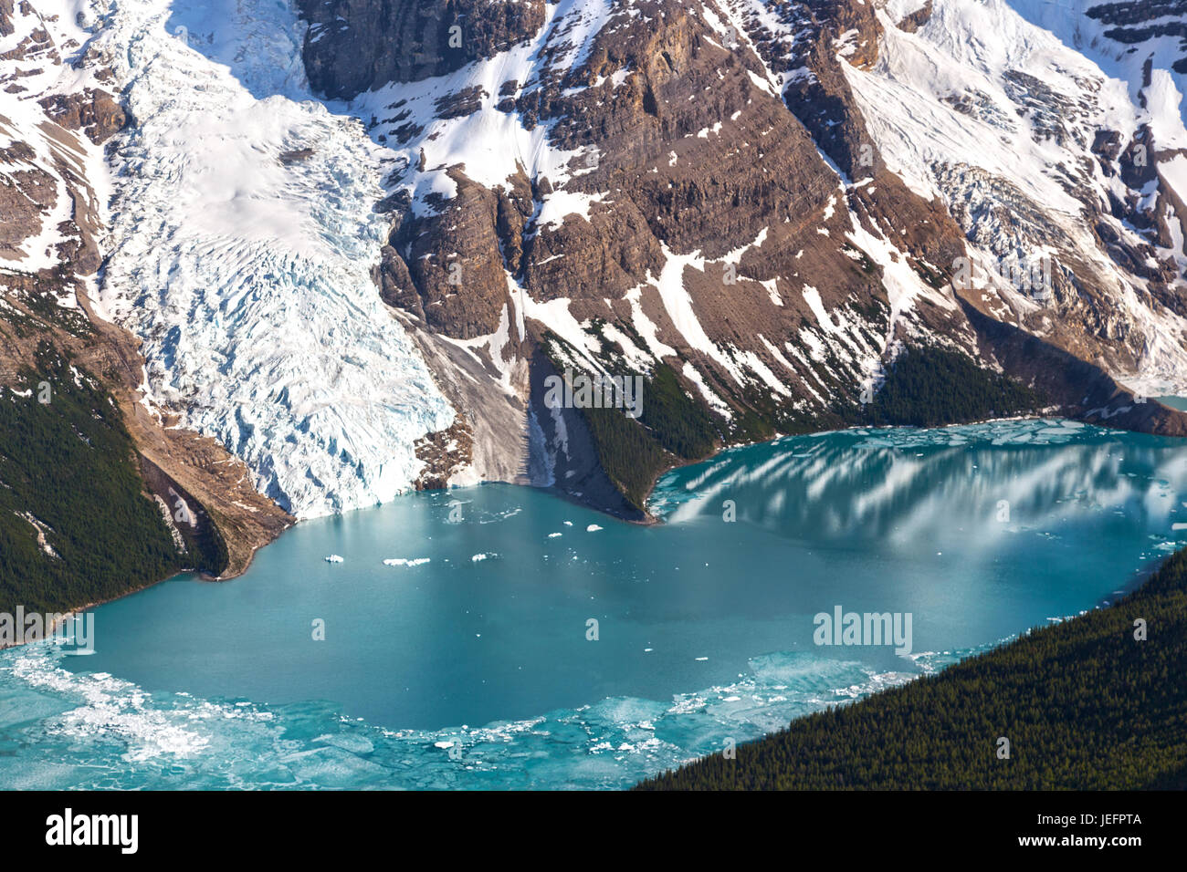 Telephoto of Berg Lake and Glacier in Mount Robson Provincial Park Rocky Mountains British Columbia Canada Stock Photo