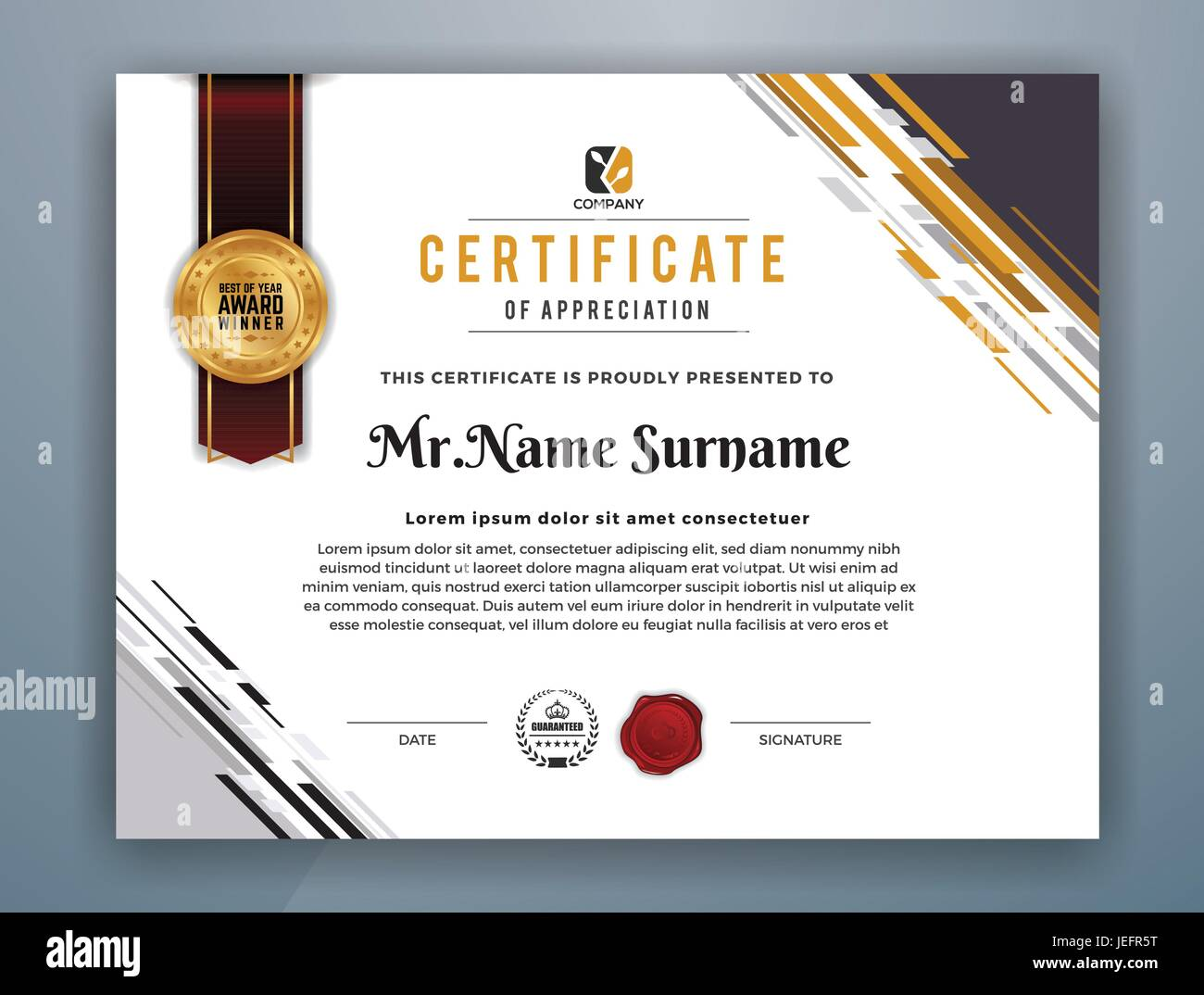 Certificate Appreciation Medal Ribbon High Resolution Stock For Professional Award Certificate Template