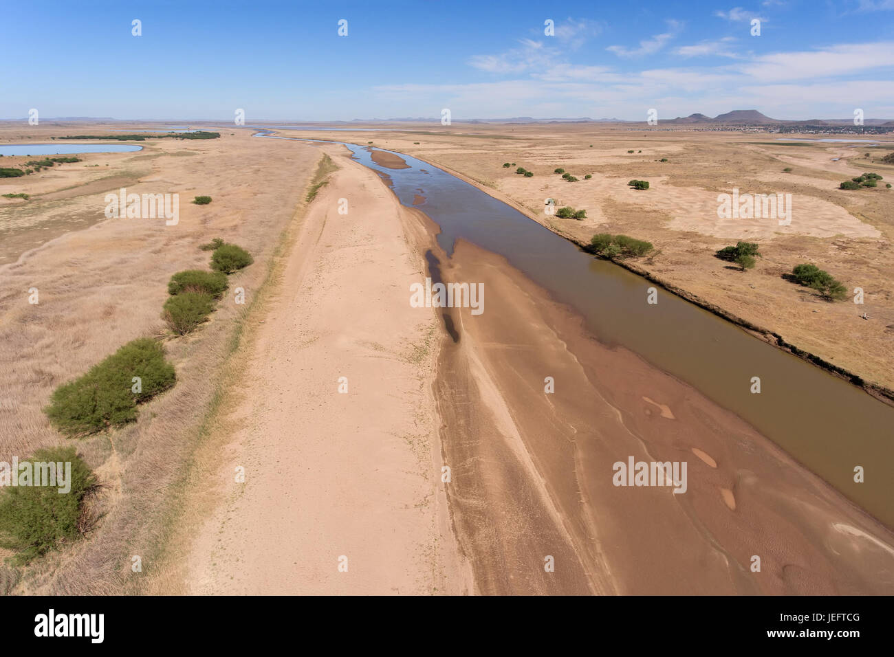 Aerial view of the Caledon river during the dry season, South Africa - Stock Image