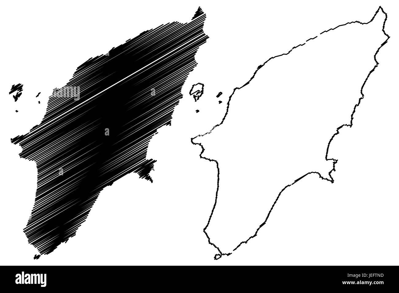 Rhodes Island Greece Map.Greek Island Rhodes Map Vector Illustration Scribble Sketch Rhodes