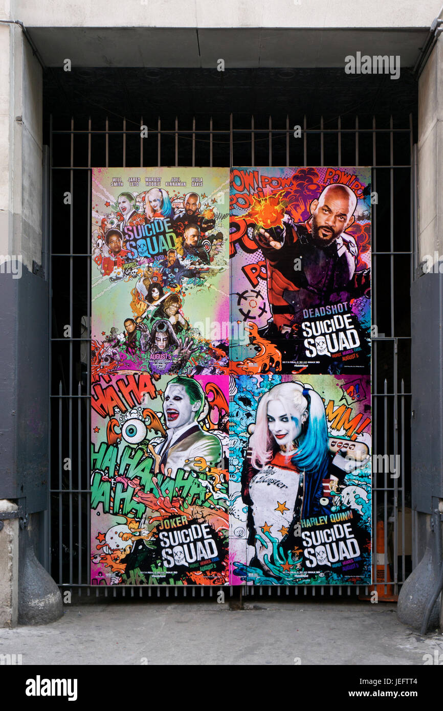 A large colorful poster for the film SUICIDE SQUAD hanging on East 18th Street in downtown Manhattan, New York City. - Stock Image