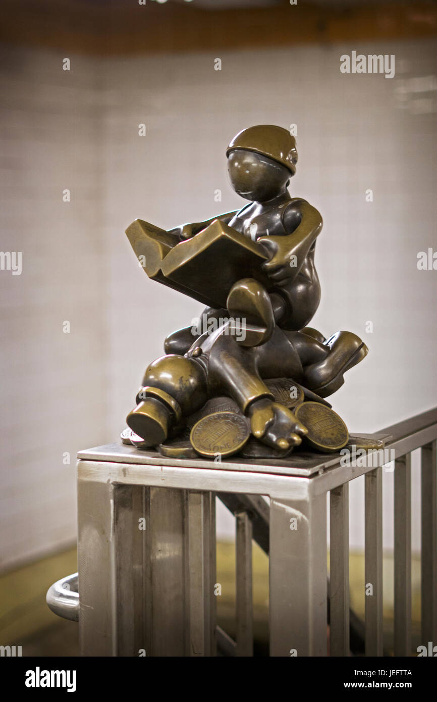 Public art sculptures, part of the Life Underground series, at the 14th Street subway station in Manhattan, New - Stock Image