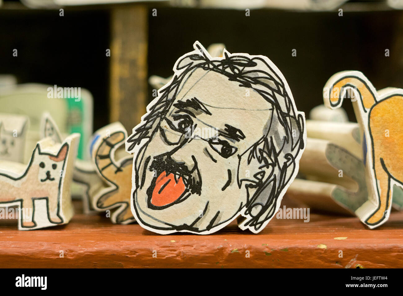 An  wooden block shaped like Albert Einstein's head for sale at Fishs Eddy, a Manhattan store selling an eclectic - Stock Image