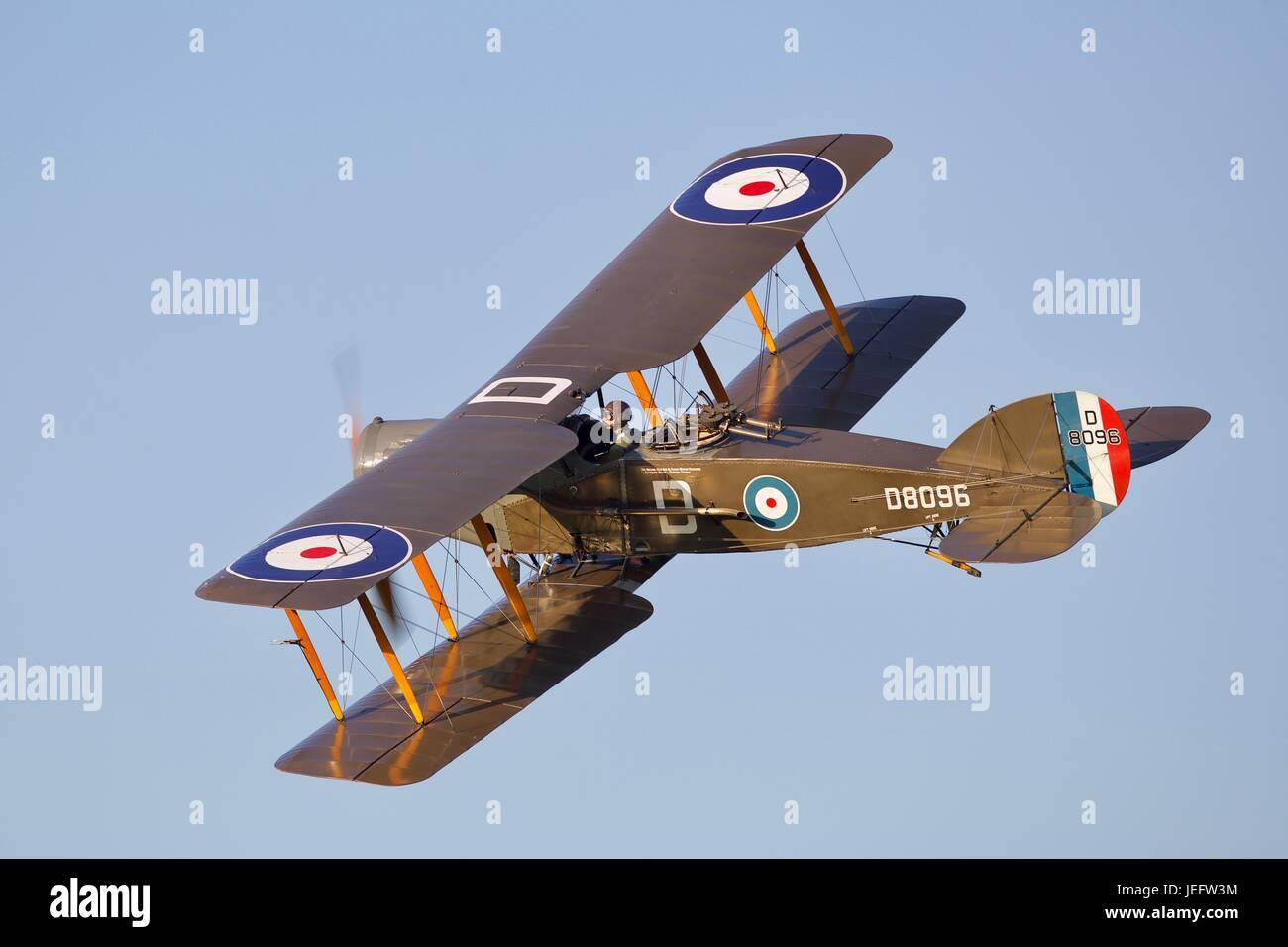World War 1 Bristol F.2B Fighter flying at Old Warden Aerodrome - Stock Image