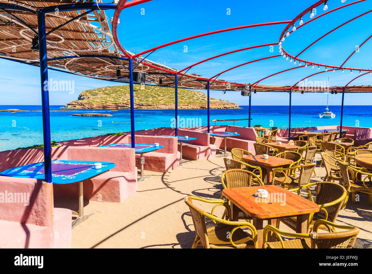 Coastal bar with beautiful sea view on Cala Comte beach, Ibiza island, Spain - Stock Image