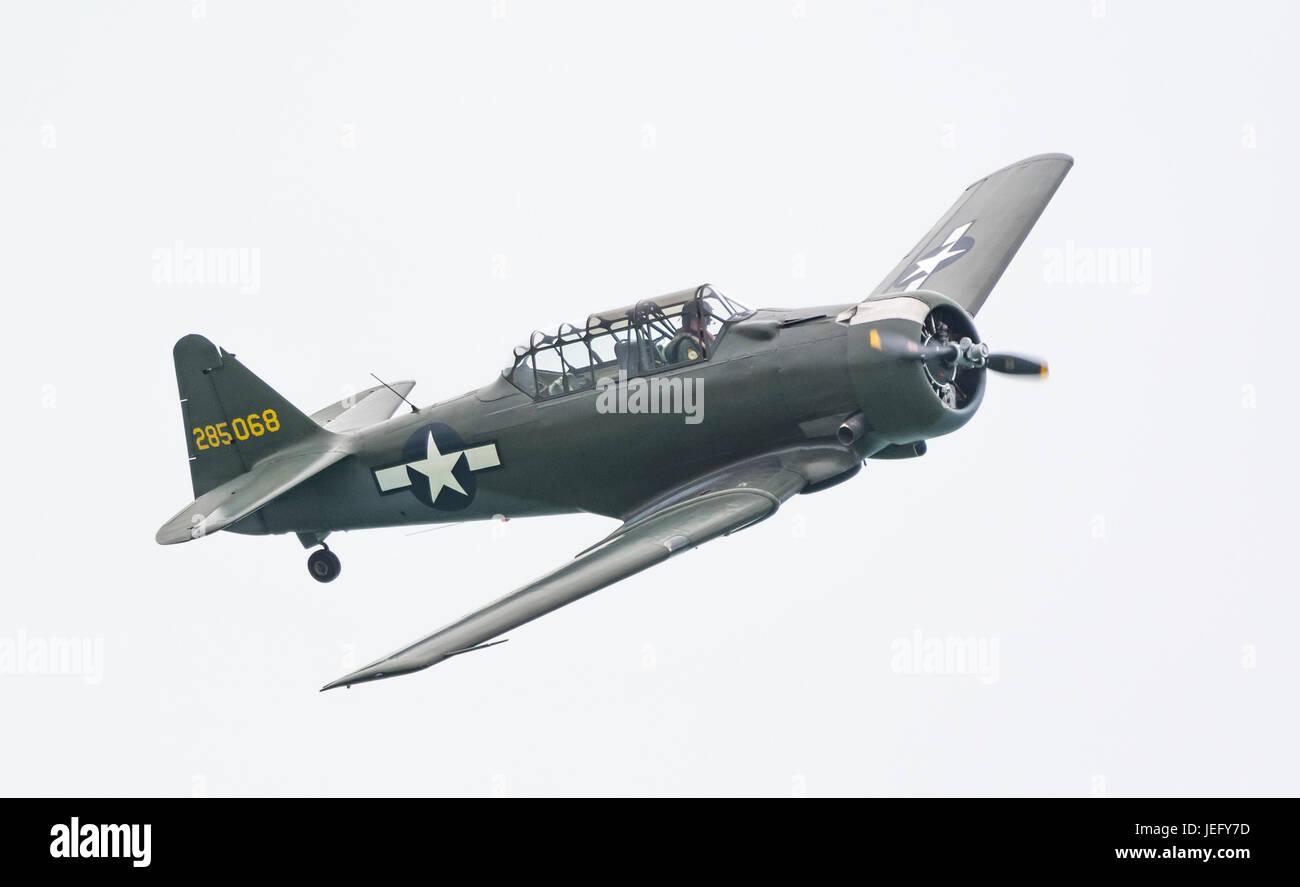 North American Aviation T-6 Texan advanced training single propeller military aircraft. - Stock Image