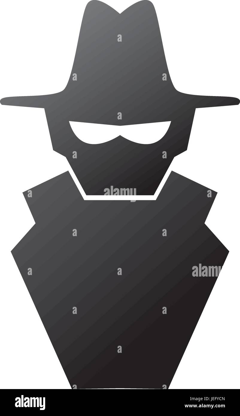 isolated spy hacker - Stock Vector