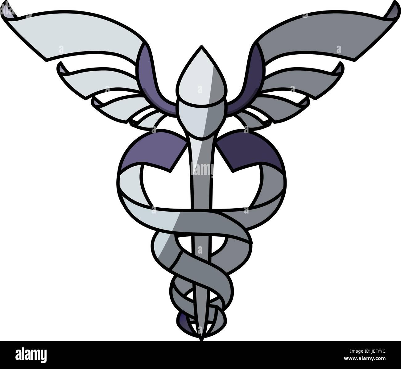 isolated caduceus emblem - Stock Image