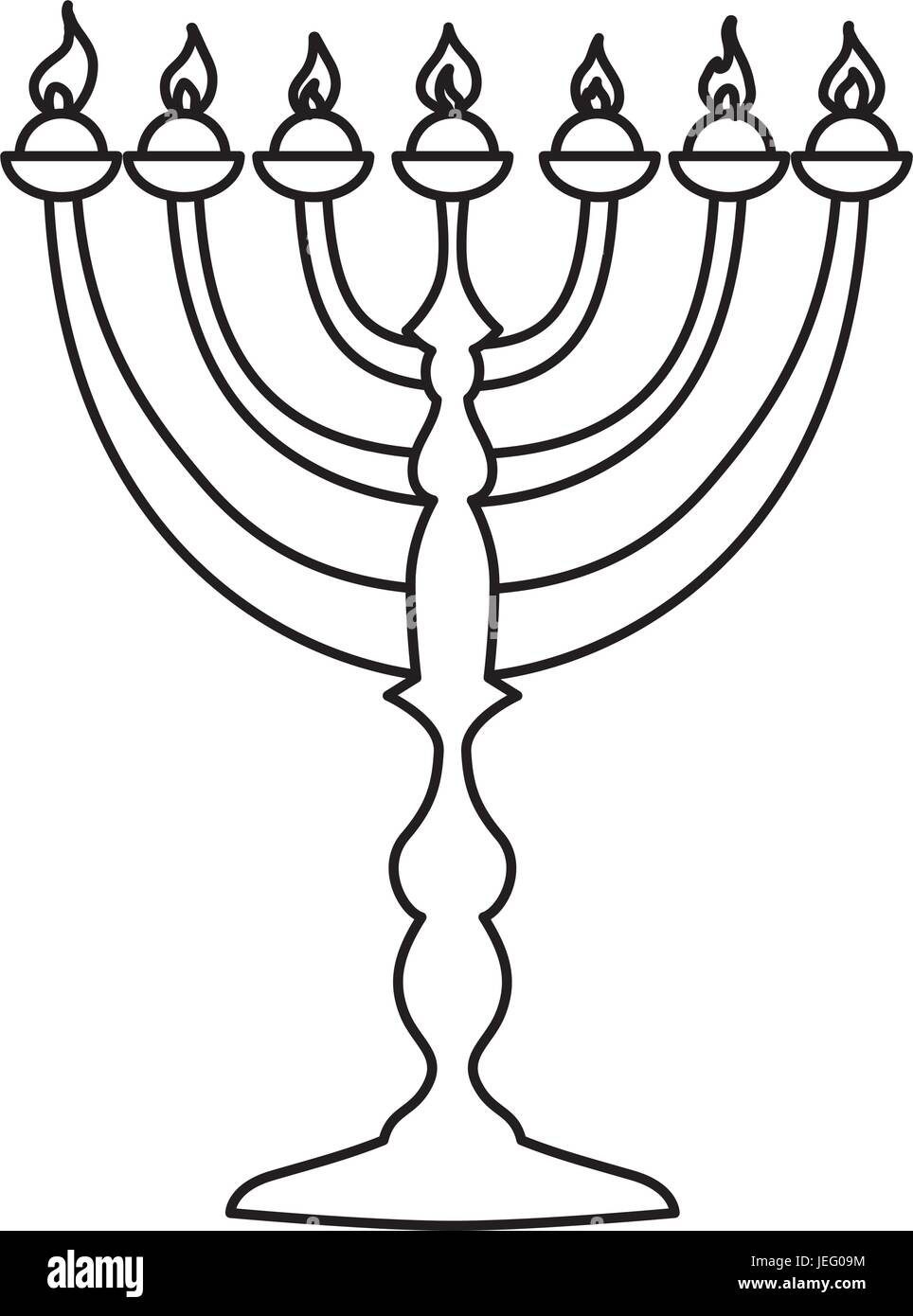 Jewish Chandelier menorah - Stock Vector