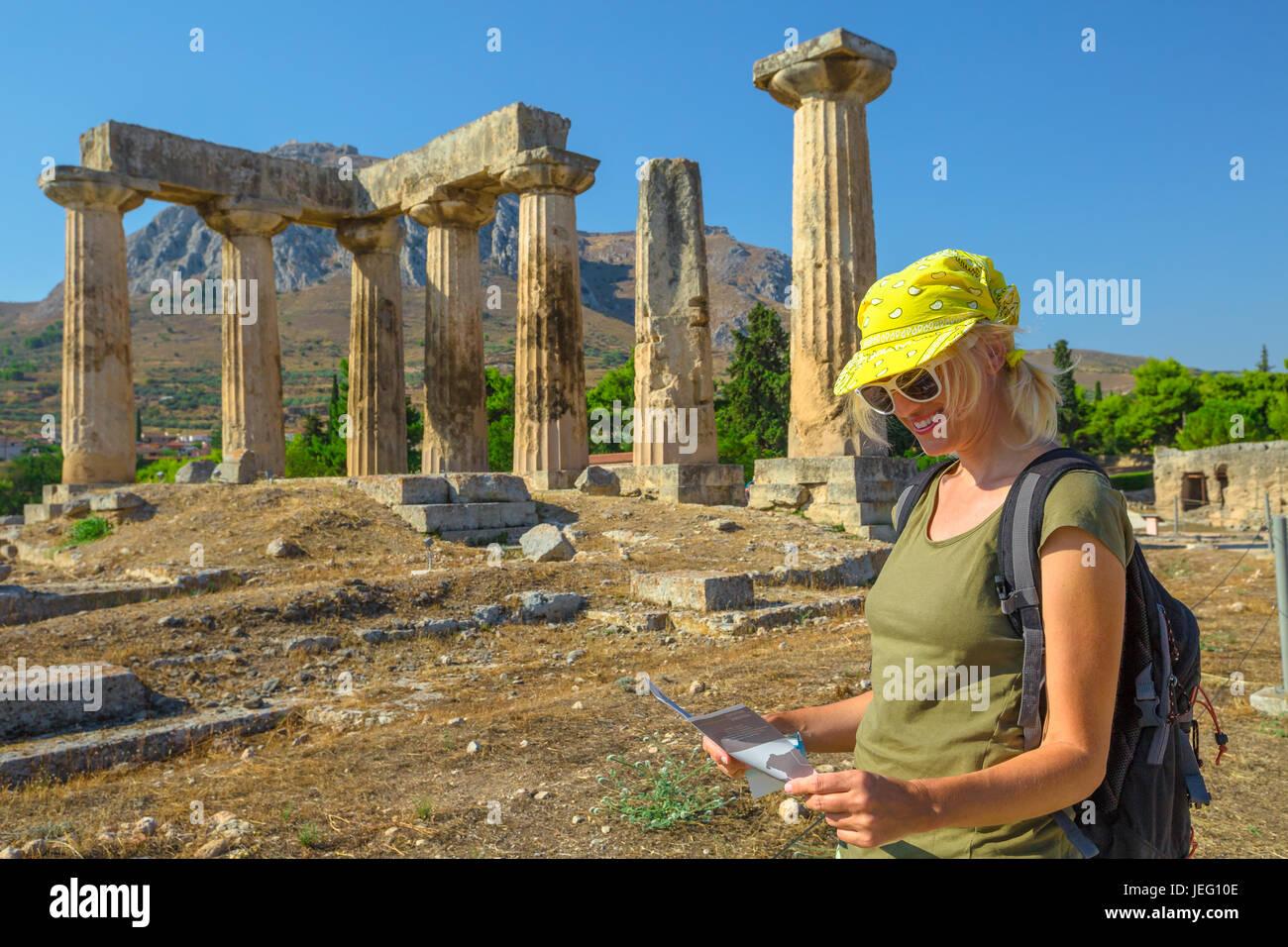 Visiting Ancient Corinth - Stock Image