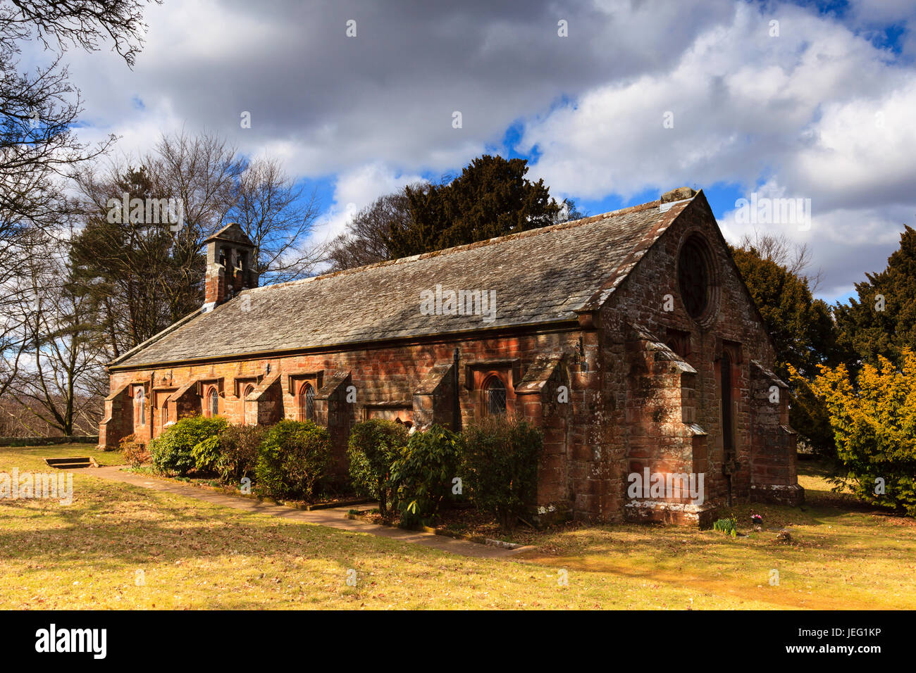 Saint Wilfrid's Chapel.  Saint Wilfrid's Chapel is the local parish church situated next to Brougham Hall - Stock Image
