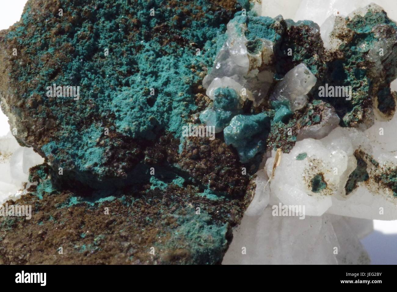 Macro Photo of Calcite and Copper Oxide Crystal  Geological