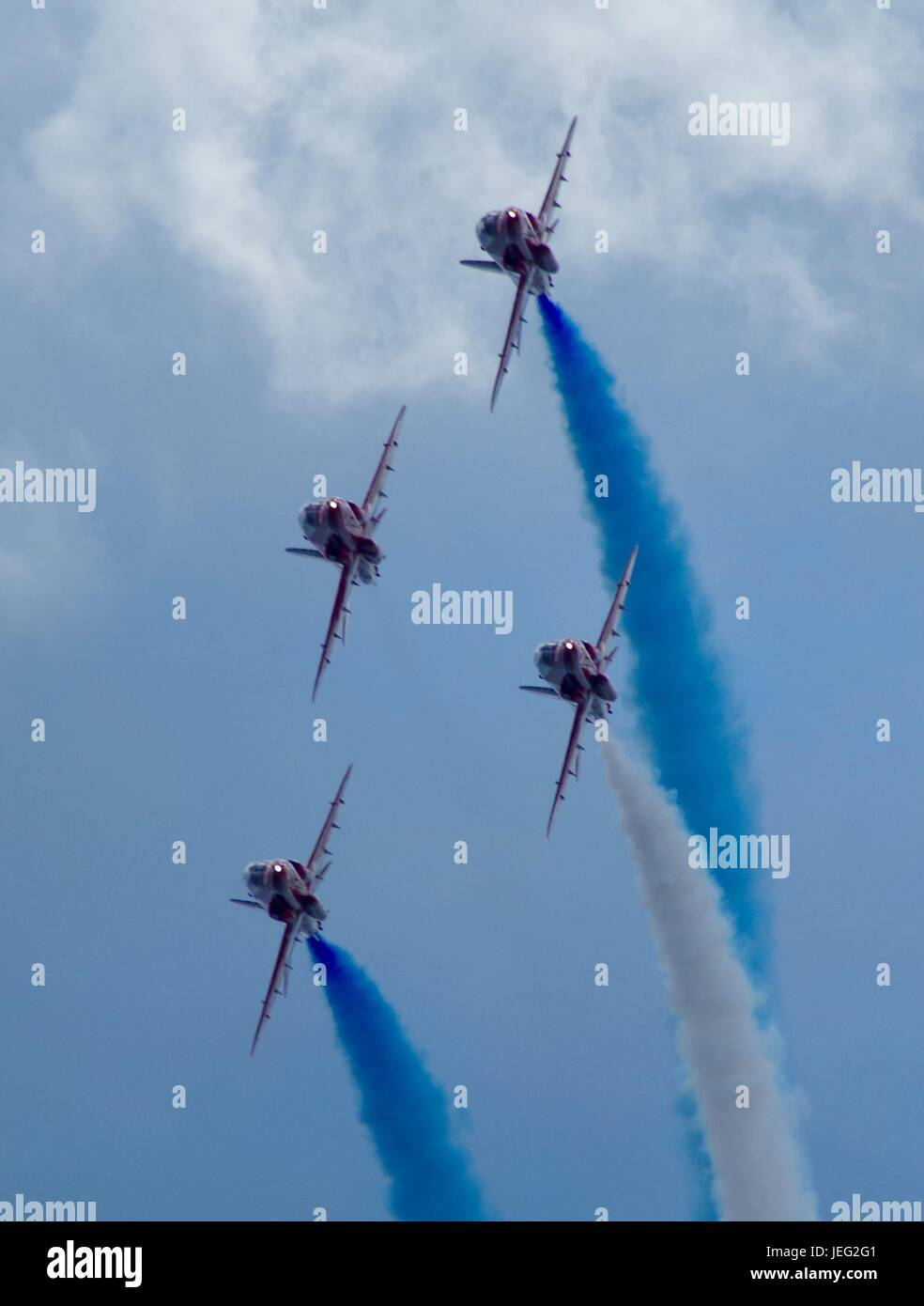 The Royal Air Force Acrobatic Team, The Red Arrows, Displaying at Dawlish Airshow 2015. Devon, UK. August, 2015. - Stock Image