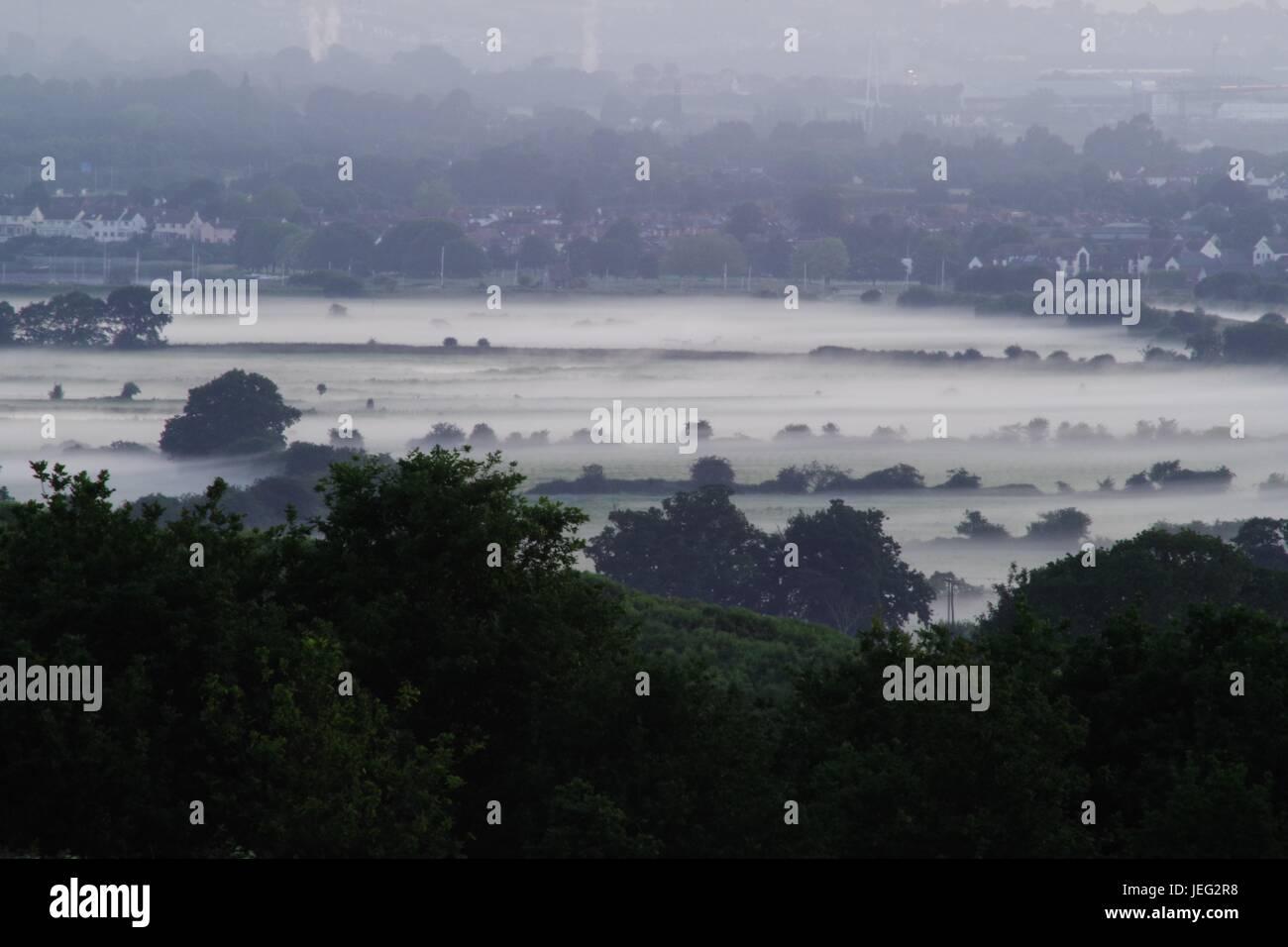 Morning Mist Hangs Gloomily Over Exminster Marshes, South of Exeter. Devon, UK. June, 2017. - Stock Image