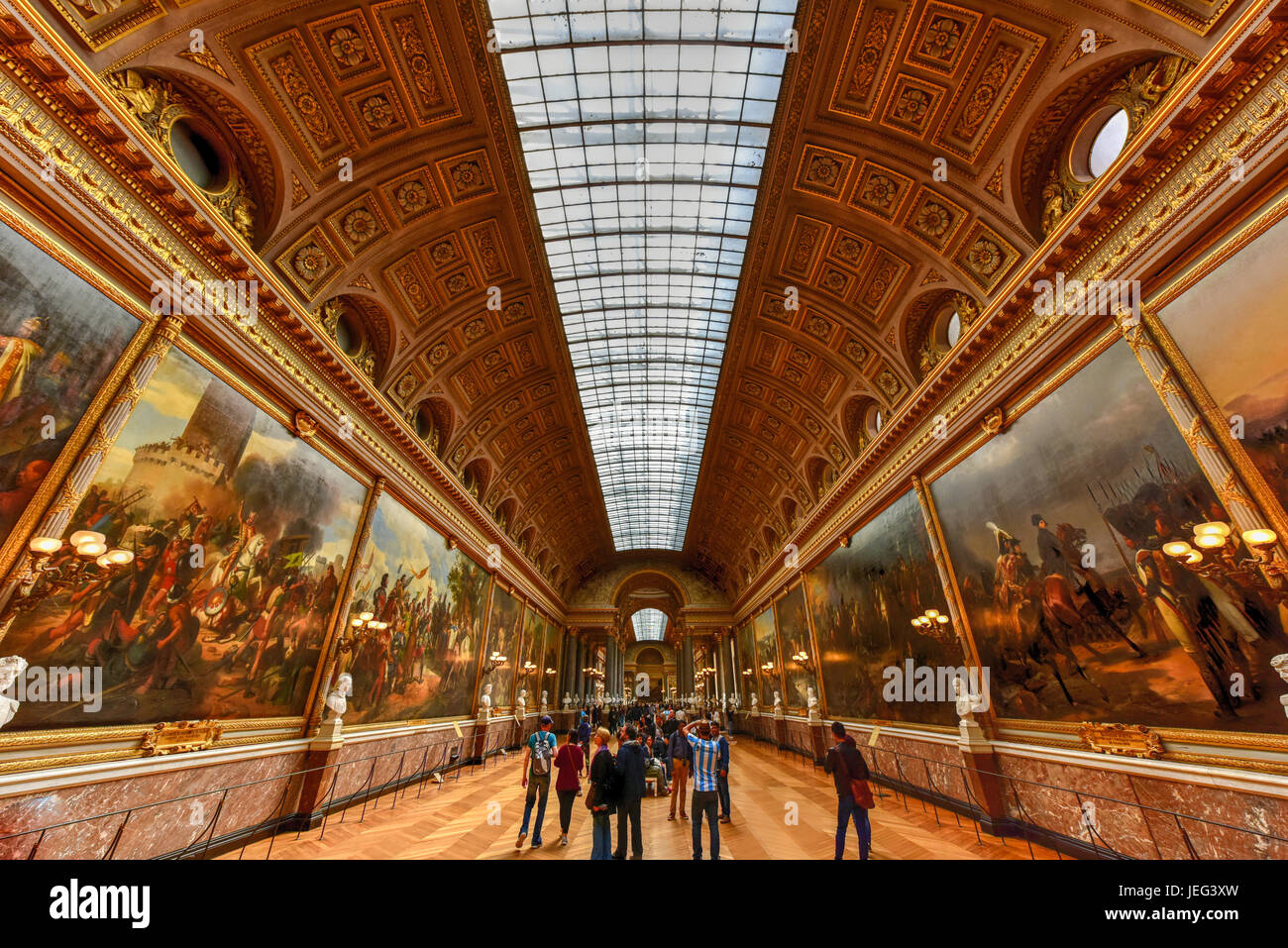Versailles, France - May 14, 2017: The Battles Gallery in the Palace of Versailles in France. - Stock Image