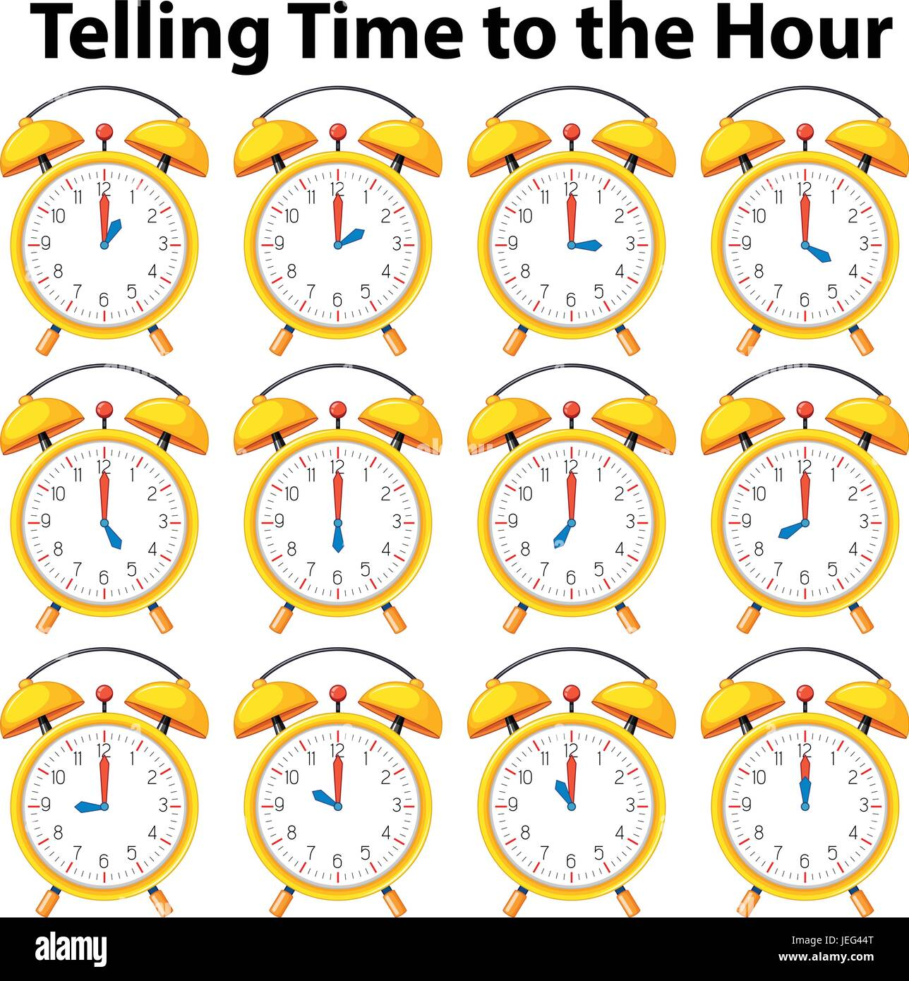 Telling time to the hour on yellow clock illustration ...