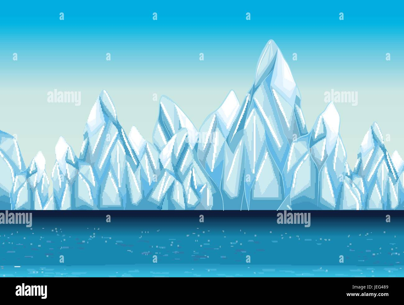 Background with glacier and ocean illustration - Stock Vector